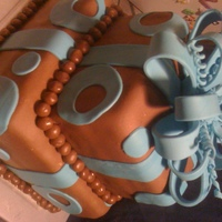 Kayla's Birthday Cake   WASC cake with buttercream icing. Covered in fondant with fondant accents and fondant/gumpaste bow.