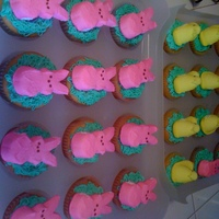 "Peep Cupcakes   white cupcakes with buttercream ""grass"" topped with a peep...for my son's class for the spring party."