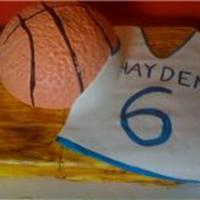 Basketball And Jersey fondant covered cake