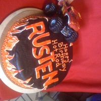 Hot Rod Rusten's Bday Cake   12' white cake, buttercream icing, covered in fondant.