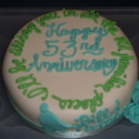 53Rd Anniversary Cake   chocolate cake, fondant with fondant accents and buttercream writing.