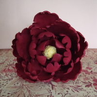 "Peony This is my first attempt at a ""real"" flower. I used GSA peony cutters and burgundy/juneberry petal dust. I'm using this on..."
