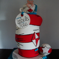 Cat In The Hat Baby Shower Cake 8 layers of 6 inch round cake on top of 4 inch styrofoam. Vanilla and chocolate WASC. All fondant work. The teacup is RKT covered in...