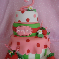 "Strawberry Shortcake Birthday  This is a 8, 6 and 5 inch round. All WASC with SMBC and strawberry filling. All fondant details. The ""2"" fell a little due to the..."