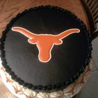 Texas Longhorns Groom's Cake Longhorn colorflow, Black Chocolate Buttercream Frosting, Colorflow longhorns on the large star border. Decorated this cake out of town for...