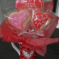Valentine's Cookies And Bouquets So I've been dying to try bouquets, so finally I did! Made the bouquets for my daughter's pre-school teachers. Thanks for looking...