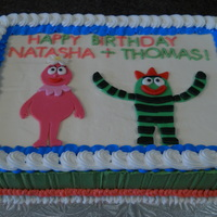 Yo Gabba Gabba Sheet Cake So I was looking for ideas to make a sheet cake fun and I came across Sharon Zambito's site and fell in love with everything! Anyway,...