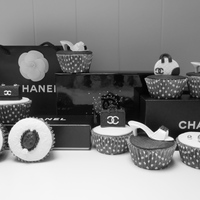 Chanel Cupcakes Chanel themed cupcakes for a girl who turned 15 last week. They turned just like I wanted them to turn out;) Cupcakes filled with baileys-...