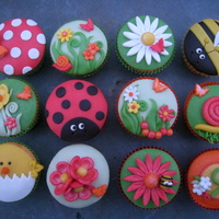 Little Spring Garden Cupcakes themed after a typically spring garden, with bee's, flowers and more!