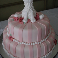 "Faline's Baby Shower Two tiers (12"" and 9"") covered in and decorated with MMF. I got the idea for the lamb from a tutorial on youtube. This was my..."