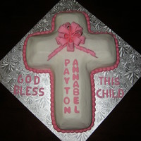 Baptism   Strawberry cake with BC icing and Fondant/Gum paste decorations.