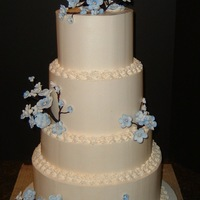 Perinkle Blossom Wedding buttercream with handmade blossoms