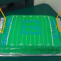 Football Field Cake Made this football field cake for a friend. The cake is half chocolate and half vanilla, the end-zones say which side is which.