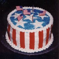 July4Thcake.jpg This 4th of July cake is actually the first cake I ever decorated in such as manner. The three layers were also red, white, and blue.