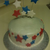 Happy Birthday America! A simple Vanilla cake with buttercream. White fondant airbrushed with pearl and silver. All stars are fondant as well. It was made for a...