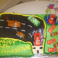 Cars Racetract Using some ideas from this site, my daughter put this cake together to the delight of her youngest son.