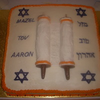 Bar Mitzvah, Scrolls The family and the young man knew exactly what they wanted on their cake even down to the colors. They gave me a sketch of how the scrolls...