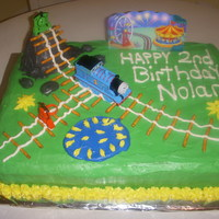 Thomas The Train Birthday Cake this thomas set is available for purchase and made the cake a success.