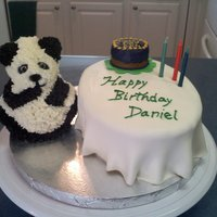 Panda Birthday The second cake we made for a customer also had to have a panda theme. the bear is a Wilton cake mold which works great. Fondant table...