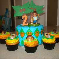 Go Diego Go MY sons 2nd bday cake. Iced in buttercream decorated in fondant. Small 6 inch cake with 50 cupcakes.
