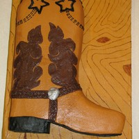 Cowboy Boot This was for a competition. I entered it in the all buttercream category (which includes the board). I hand painted the wood-grain board (...