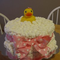 Bubbly Pink Duckie!  Inspired by another shower cake on CC, the request was for a pink duckie themed shower cake. LOVED this one, and rather easy to do. The end...