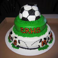 Erhs Boys Soccer Cake!   Chocolate, strawberry, and white cakes with buttercream. Soccer balls on bottom were white chocolate made with molds.