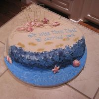 Footprints This is my Easter cake..didn't turn out how I'd hoped and planned...It's a pineapple cake, bavarian cream flavored bc,...