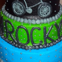 Bicycle Birthday Cake   Three tiers; buttercream