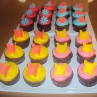 Fun Birthday Cupcakes!   Chocolate cupcakes with buttercream icing and fondant accents