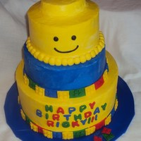 Lego Cake   Buttercream with fondant lego border