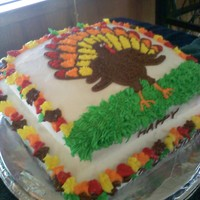 Turkey Cake Chocolate cake with Buttercream frosting, i need to work on my writing, im not sure why i cant do better on it! Happy Thanksgiving everyone...