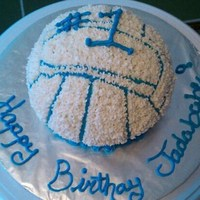 Volley Ball Cake A strawberry cake made for a freinds lil girl who is big into sports.