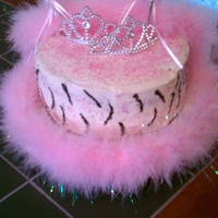 Pretty Princess A vanilla m&m cake with peanut butter filling for my nieces 4th birthday.