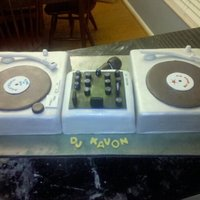 Turntable Cake Cake I did for a friend thats a DJ. The middle cake was cheesecake.
