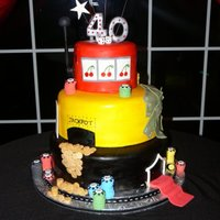 40Th Bday Cake Casino Theme Cake I did last year for a client that was turning 40. His party was Las Vegas themed. Red Velvet bottom tier, middle tier was white w/...