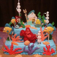 Little Mermaid Birthday Cake Made for my grandsons 4th b-day. Stacked layers of choc cake with choc truffle filling for bottom layer and vanilla caramel cake with white...