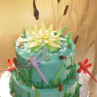Dragonfly Party Gelatine winged dragonflies and butterflies. Buttercream frosting with fondant accents.
