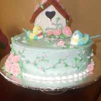 Mom's Birdies This is cream cheese frosting with royal flowers and birds.