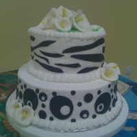 Black And White Cake i did this one for my sister is buttercream frosting with mmf decorations and gumpaste flowers