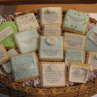 Bible Verse Cookies I made these for my sister to take to her last Bible study group. Each cookie has a Bible verse that has special meaning to the group.