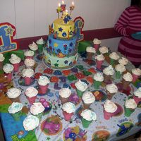 Backyardigans Cake & Ice Cream Cone Cupcakes this is my 1st cake! it was for my sond backyardigans 1st birthday. I also made ice cream cone cupcakes.