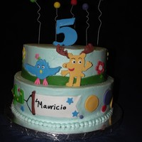 Moose A Moose And Zee.. Buttercream cake with fondant decorations, I love Moose a Moose and Zee, I tried using the theme form their spring song !! TFL