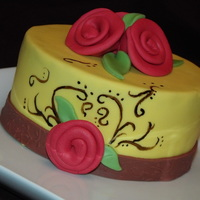 Yellow Cake With Ribbon Flowers Practice cake, I wanted to practice making ribbon fondant flowers an painting on cake. TFL