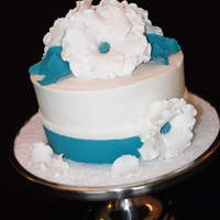 "White And Teal A simple cake for my friend's small wedding. My first ""wedding cake"" TFL"