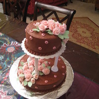 Wilton Course 3 Final Cake Chocolate wedding cake. My first time making fondant roses.