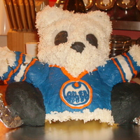 Oiler's Polar Bear  Attempt #2 at cake decorating. My mom requested the same style cake as my nephew, but she wanted a polar bear wearing an Edmonton Oiler&#...