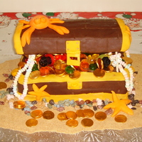 Pirate's Chest Birthday Cake  This was cake # 4 in my adventure's in cake decorating. This was for my nephews 5th birthday. Base is made of chocolate cake and...