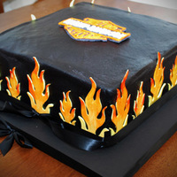Harley Flame Cake This is my first butter cream cake. I made so many mistakes. As you can see it's not really perfect. Black chocolate butter cream and...