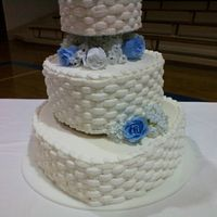 Basket Weave Hearts Wedding Cake